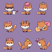 Kawaii foxes icons