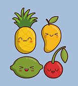 kawaii fruits icon over blue background colorful design vector illustration