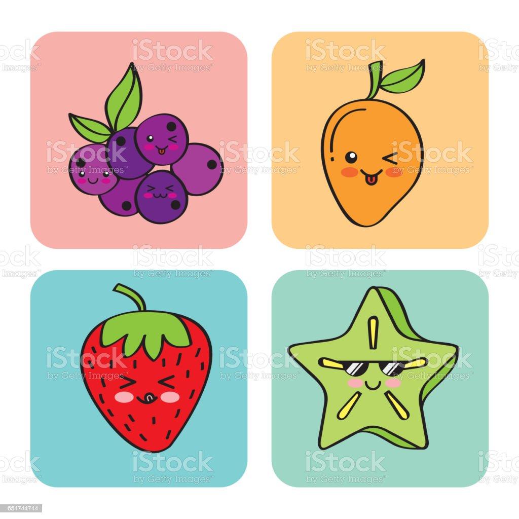 Vetores De Desenho De Frutas Kawaii E Mais Imagens De Amor