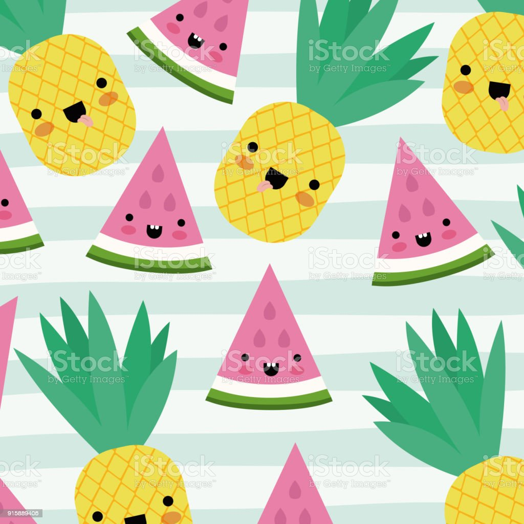 Kawaii Fruits Pattern Set With Face Expression On Decorative Lines Color Background Royalty Free