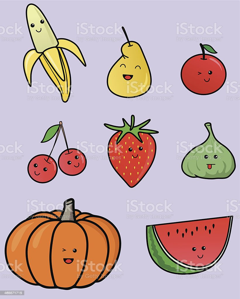 kawaii fruits royalty-free stock vector art