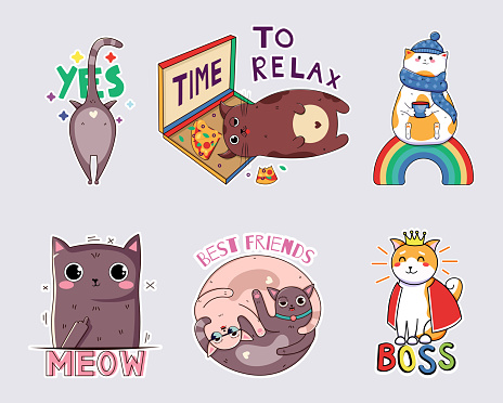 kawaii funny cats stickers. Print on T-shirts, sweatshirts, cases for mobile phones, souvenirs, scrapbooking elements. Vector illustration