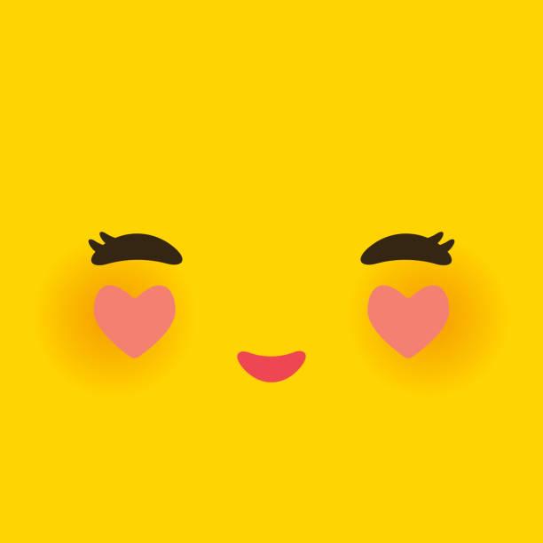 kawaii lustige schnauze in der liebe mit rosigen wangen und herz. niedliche cartoon-gesicht auf gelb orange hinterlegt. vektor - smileys zum kopieren stock-grafiken, -clipart, -cartoons und -symbole