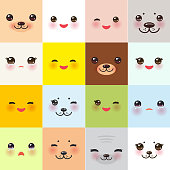 Kawaii funny muzzle set with pink cheeks and winking eyes on square background. Vector