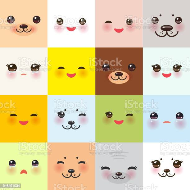 Kawaii funny muzzle set with pink cheeks and winking eyes on square vector id946451034?b=1&k=6&m=946451034&s=612x612&h=neekuqpwlyz0dqw5gqchfxtft8c 5sp6m9nsxmu3vcw=