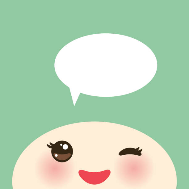 Kawaii funny muzzle with pink cheeks and winking eyes on light green background, white speech bubble. Vector vector art illustration