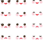 Kawaii funny muzzle with pink cheeks and winking eyes on white background. Vector