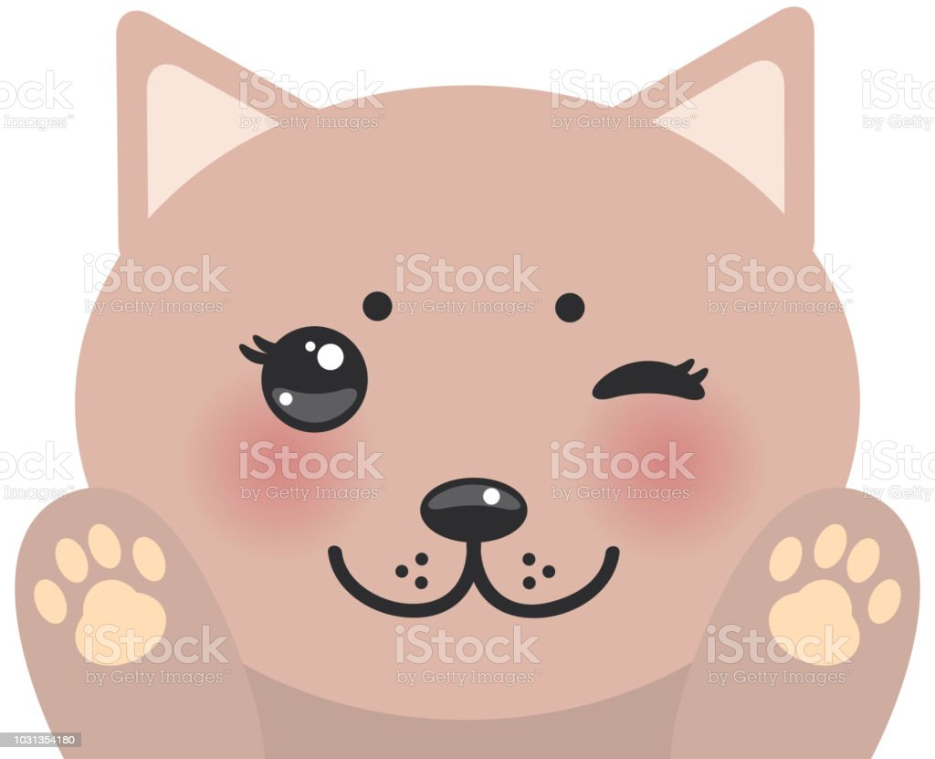 Kawaii Funny Pink Cat Muzzle With Pink Cheeks And Winking Eyes Cats