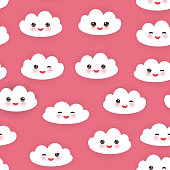 Kawaii funny white clouds muzzle . Seamless pattern  pink background.
