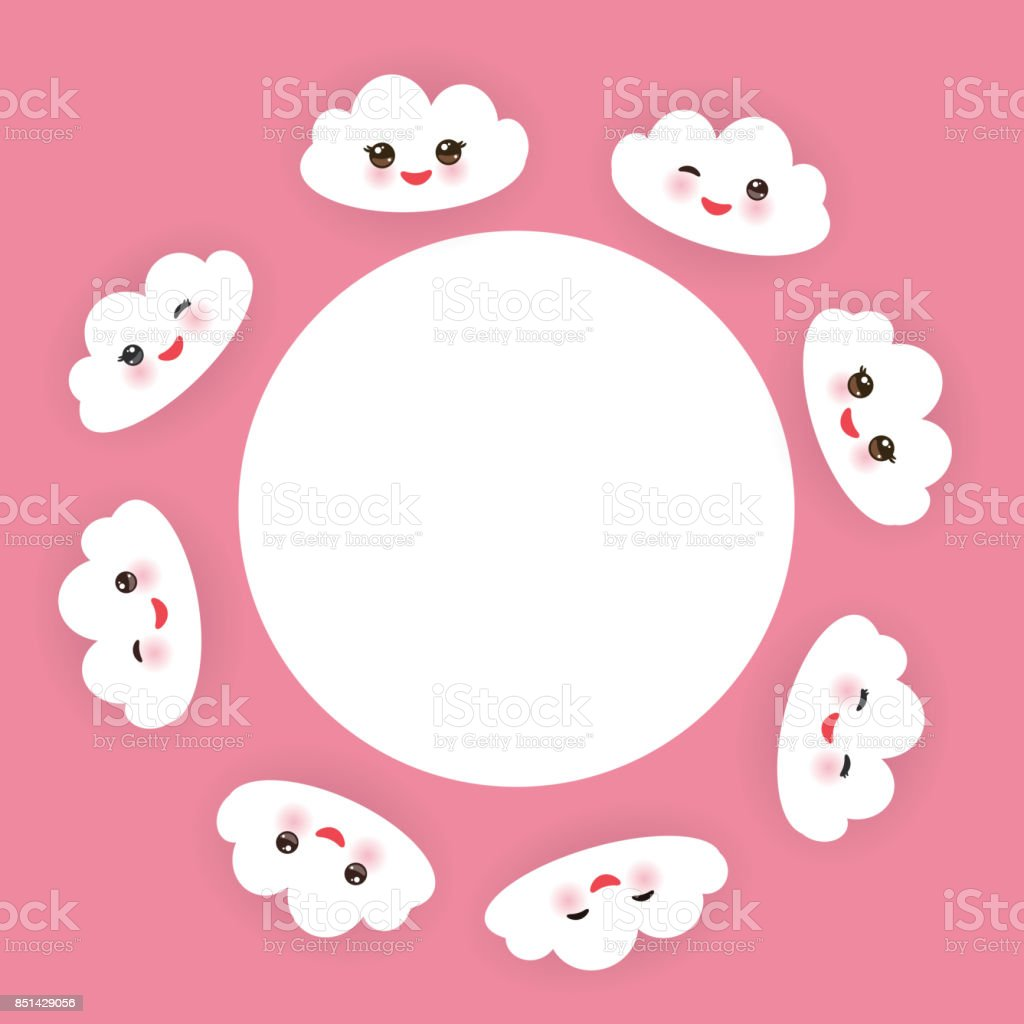 かわいい白い雲が面白いセットはピンクの頬とウインク目と銃口ピンクの