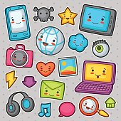 Kawaii gadgets social network items. Doodles with pretty facial expression
