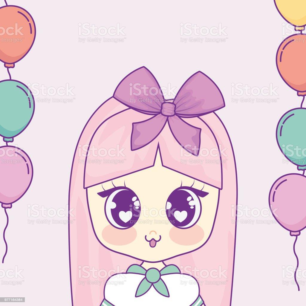 Kawaii Mädchen Mit Luftballons Helium Rahmen Stock Vektor Art und ...