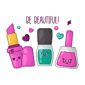 Cute cartoon set with kawaii pink lipstick, nail polishes - woman stuff or girls accessory concept, makeup and manicure  products, cartoon characters, vector flat illustration