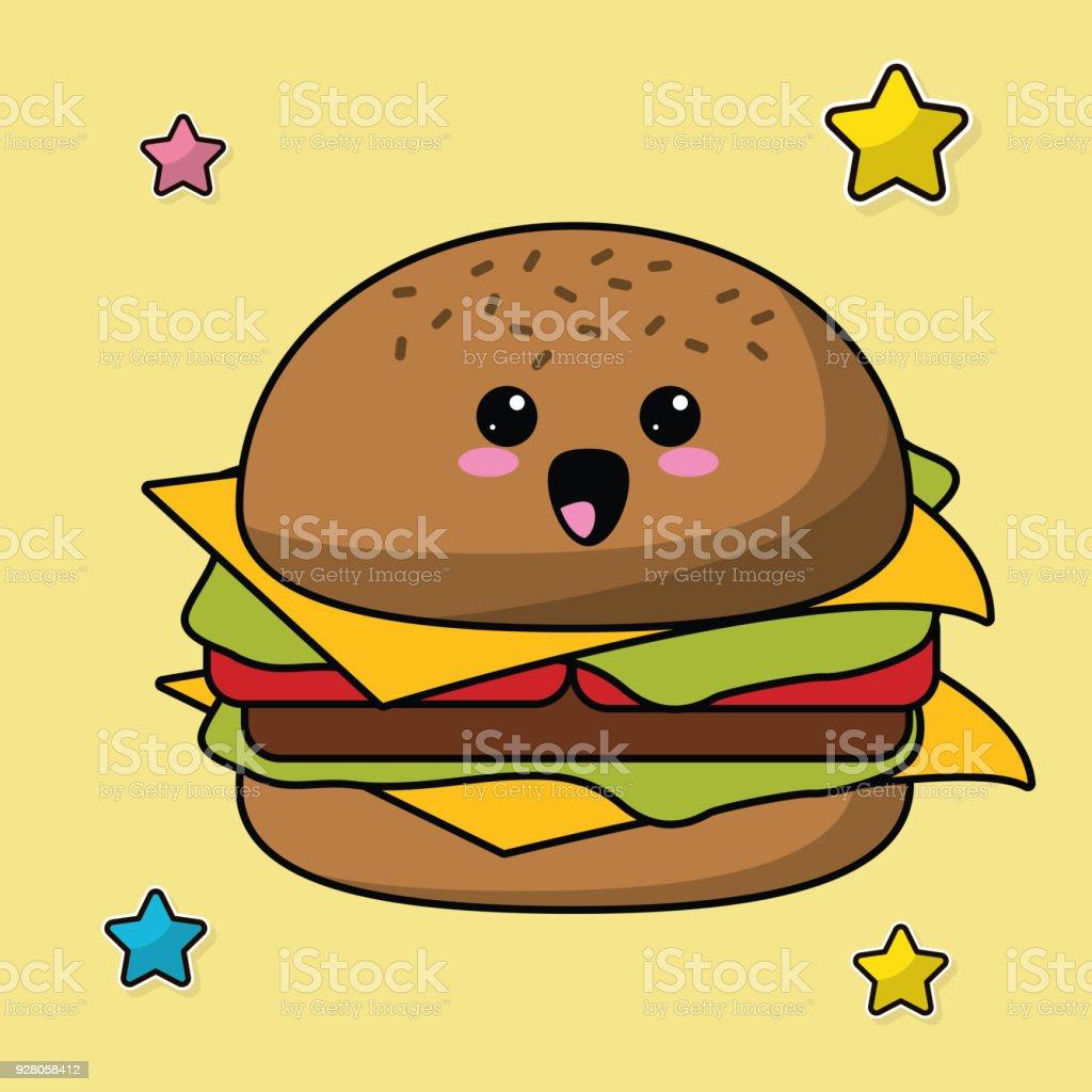 Image De Nourriture Kawaii Hamburger Vecteurs Libres De Droits Et Plus D Images Vectorielles De Aliment Istock