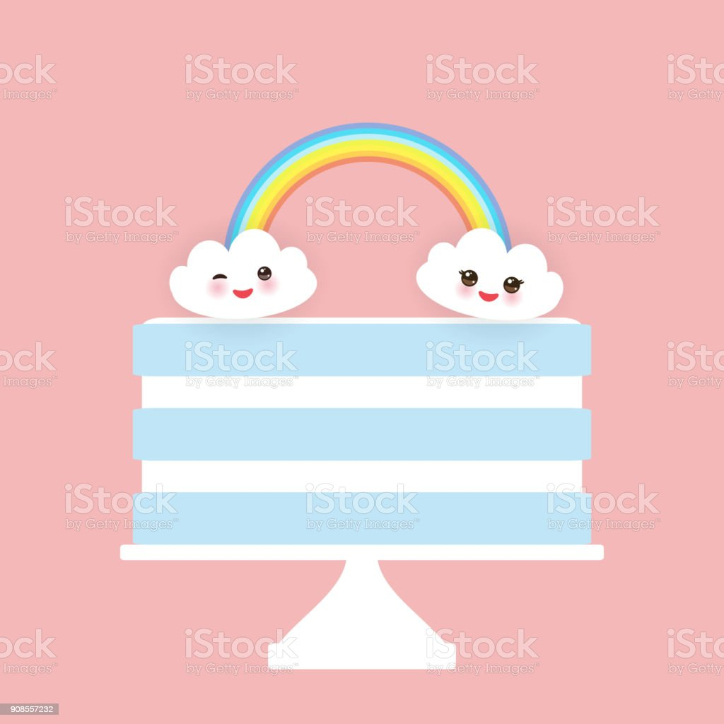 Kawaii Happy Birthday Sweet Strawberry Sky Blue Cake White Cream Clouds Rainbow Banner Design Card Template Pastel Colors On Pink Background Vector Stock Illustration Download Image Now Istock