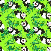 kawaii happy panda with bamboo plant  background seamless pattern