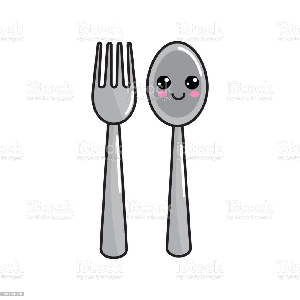kawaii happy spoon and fork icon stock vector art   more free clip art cooking borders free clip art cooking class