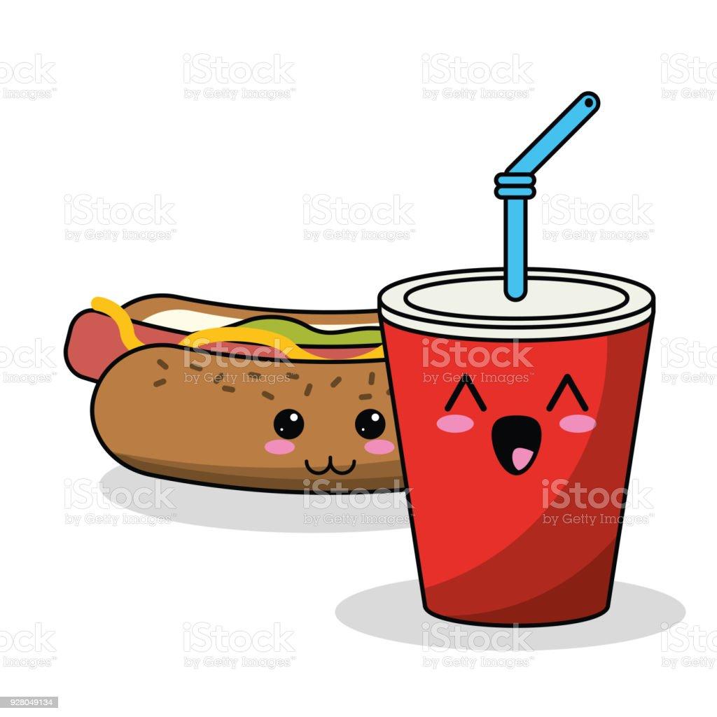 kawaii hot dog soda straw image vector art illustration