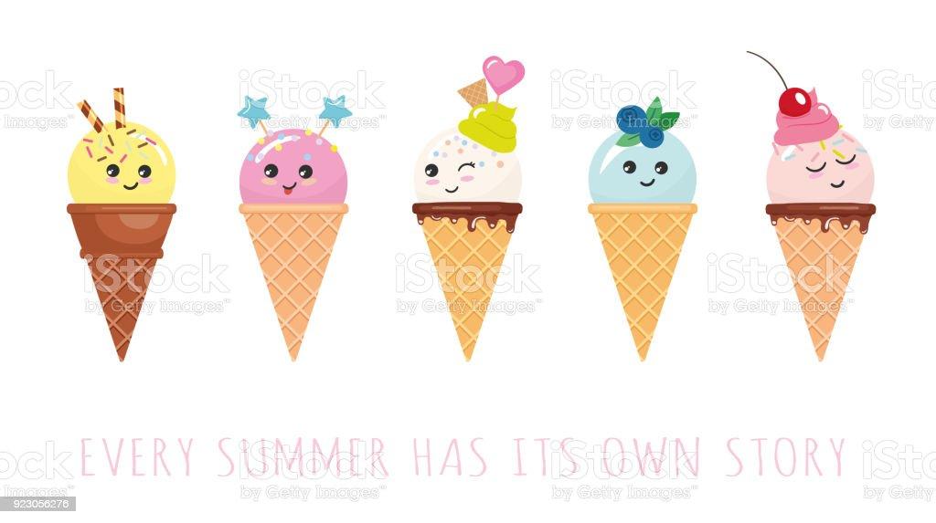 kawaii ice cream cone characters cute cartoons isolated on white
