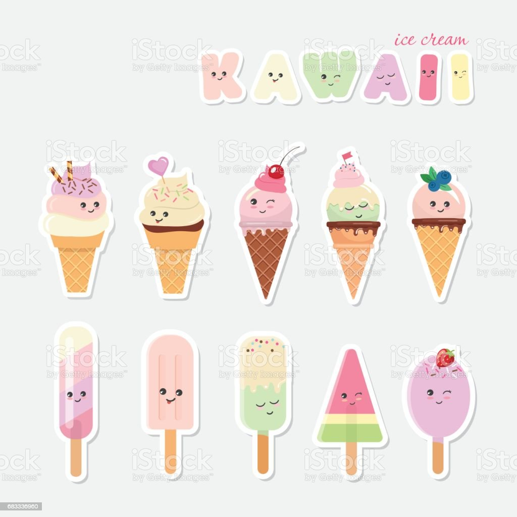 Kawaii ice cream set. Sweets isolated on white. royalty-free kawaii ice cream set sweets isolated on white stock vector art & more images of backgrounds