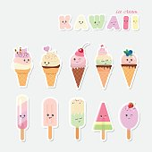 Kawaii ice cream set. Sweets isolated on white.