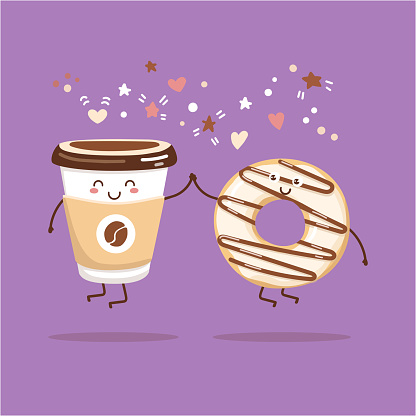 Kawaii illustration of coffee to go cup and a creamy donut with chocolate.