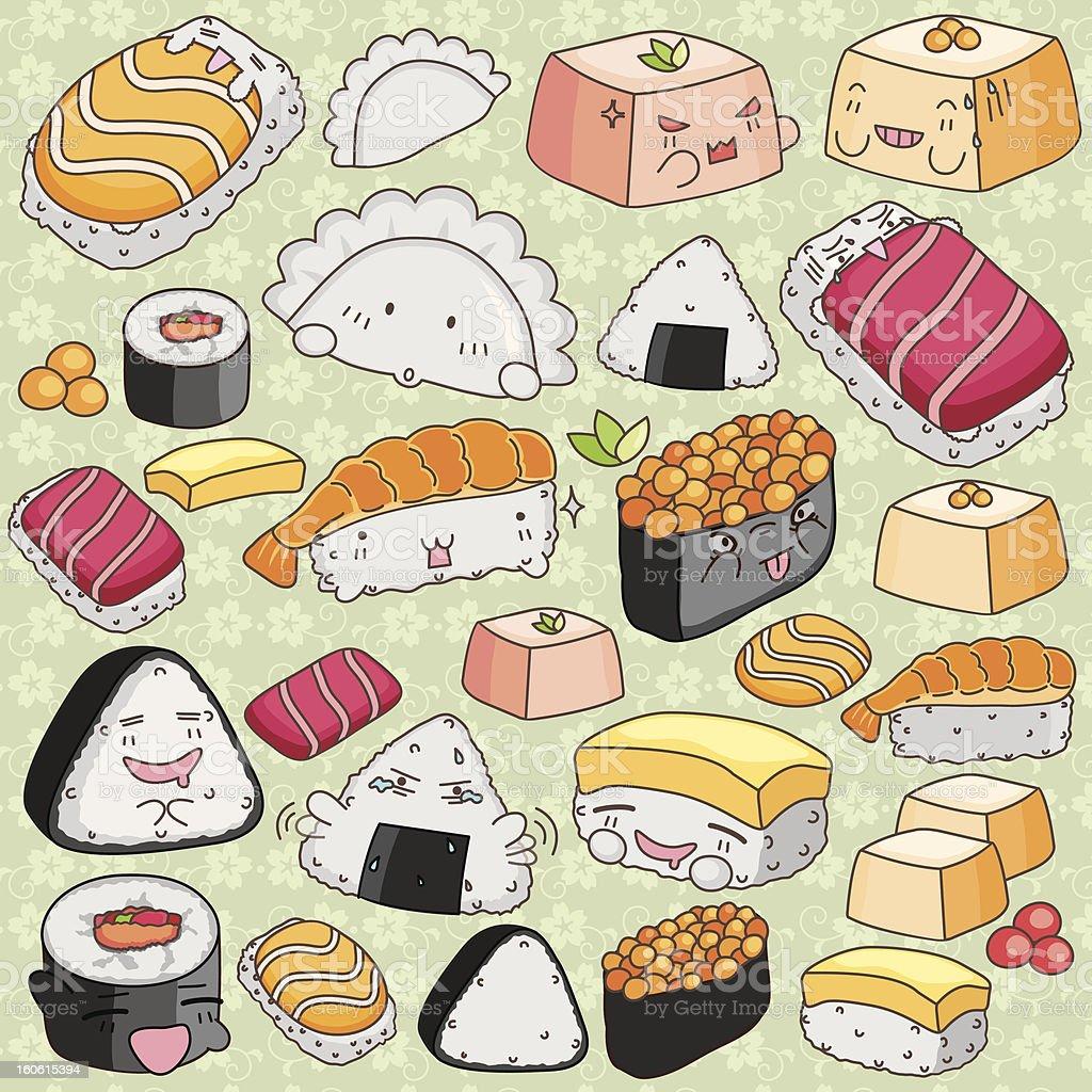 Kawaii Japanese Cuisine Clip Art royalty-free stock vector art
