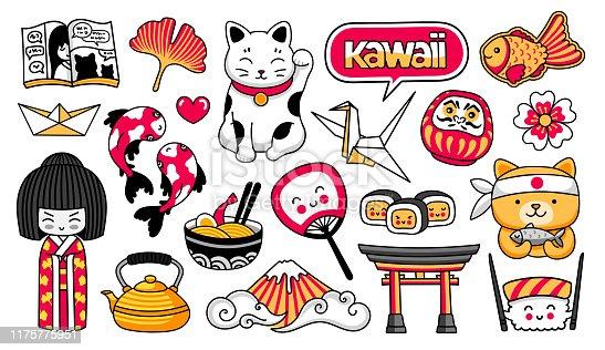 Kawaii japanese girl, maneki-neko, carps, origami, fuji, sushi, manga, ginko leaf, taiyaki fish. Set of cartoon stickers, patches, badges, pins. Vector illustration.