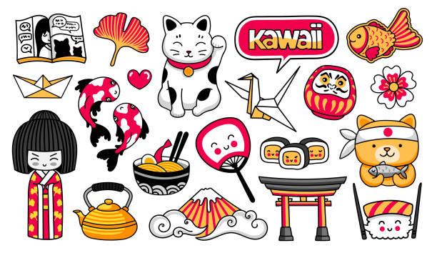 kawaii japanese girl, maneki-neko, carps, origami, fuji, sushi, manga, ginko leaf, taiyaki fish. set of cartoon stickers, patches, badges, pins. vector illustration. - sushi stock illustrations
