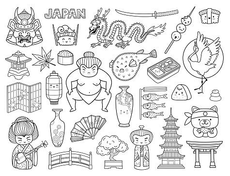 Kawaii japanese symbols and cartoon characters. Asian culture outline elements. Japan, sumo wrestler, cute sushi, samurai, fugu fish, pagoda.