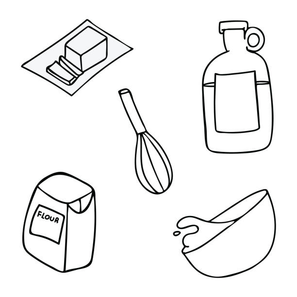 kawaii kitchen tools lineart for baking. hand drawn illustration - mixing bowl stock illustrations, clip art, cartoons, & icons