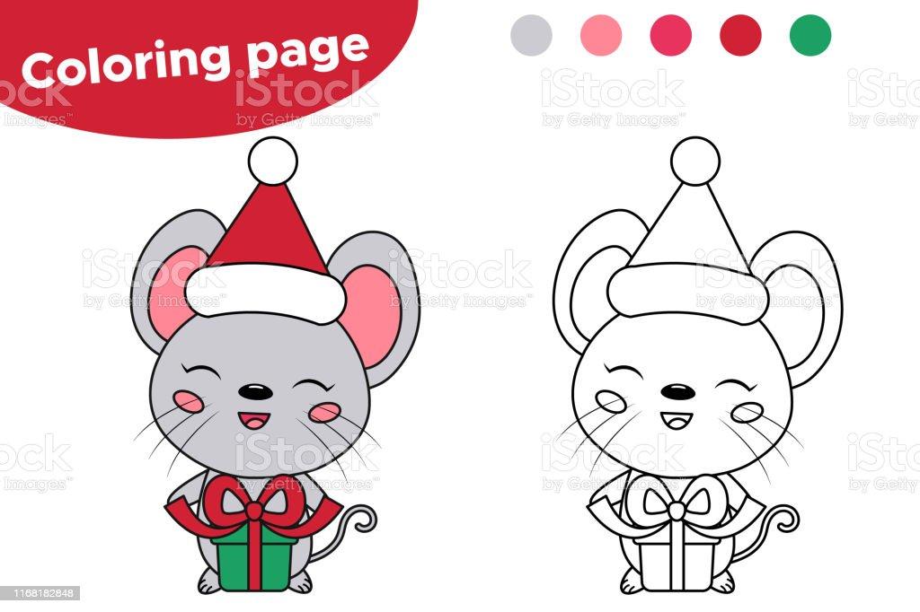 Ilustracion De Raton Kawaii Con Regalo Feliz Navidad Pagina Para