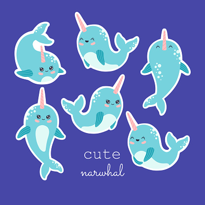Kawaii narwhal sticker collection, cute baby whale set