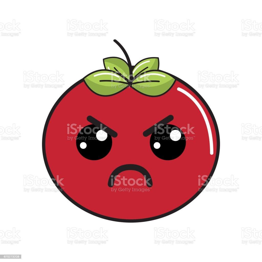 かわいい素敵な怒っているトマト野菜 みずみずしいのベクターアート