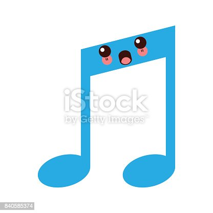 kawaii note music melody sound button web icon vector illustration