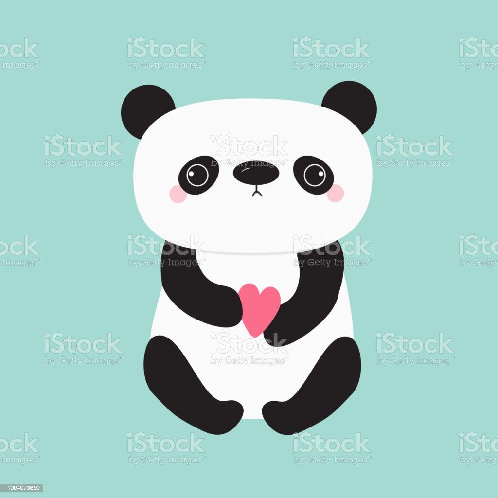 Ilustración De Kawaii Panda Bebé Oso Personaje De Dibujos Animados