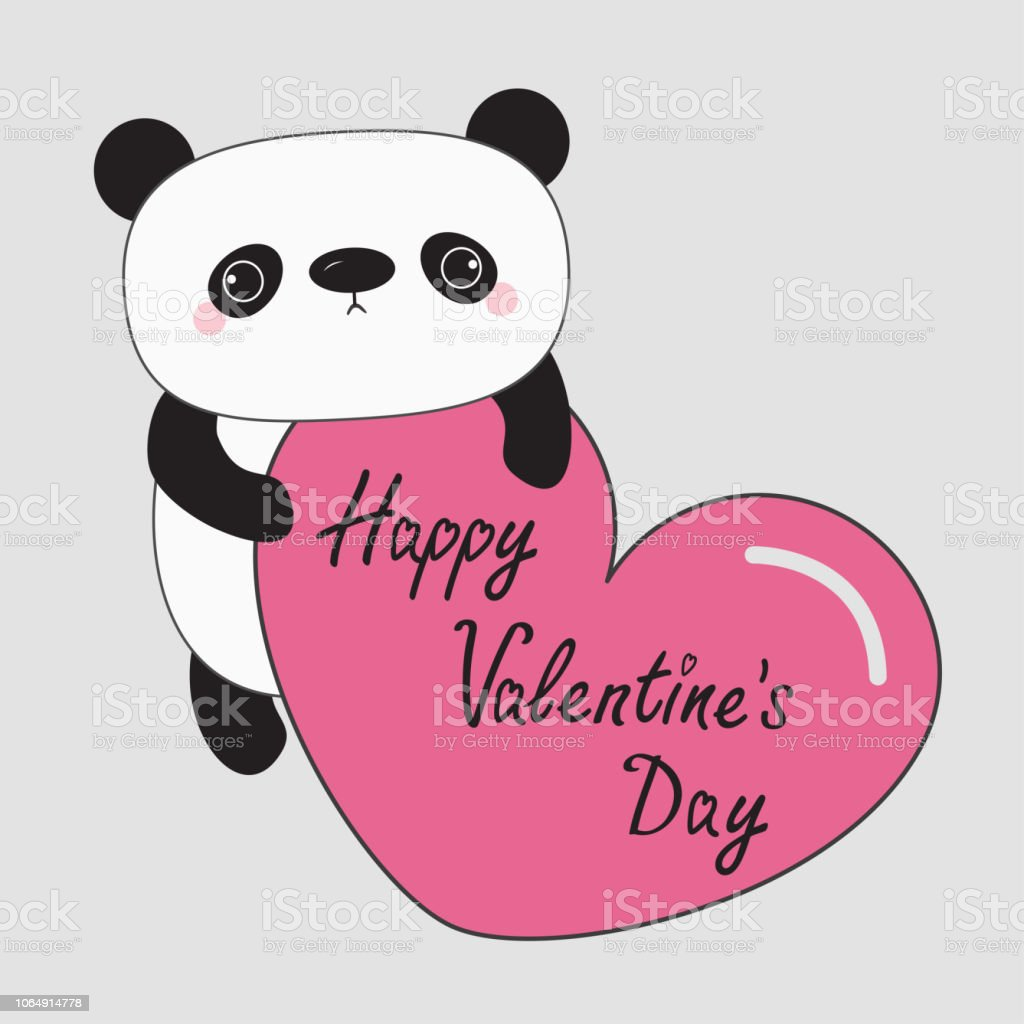 Kawaii Panda Baby Bear Happy Valentines Day Cute Cartoon Character