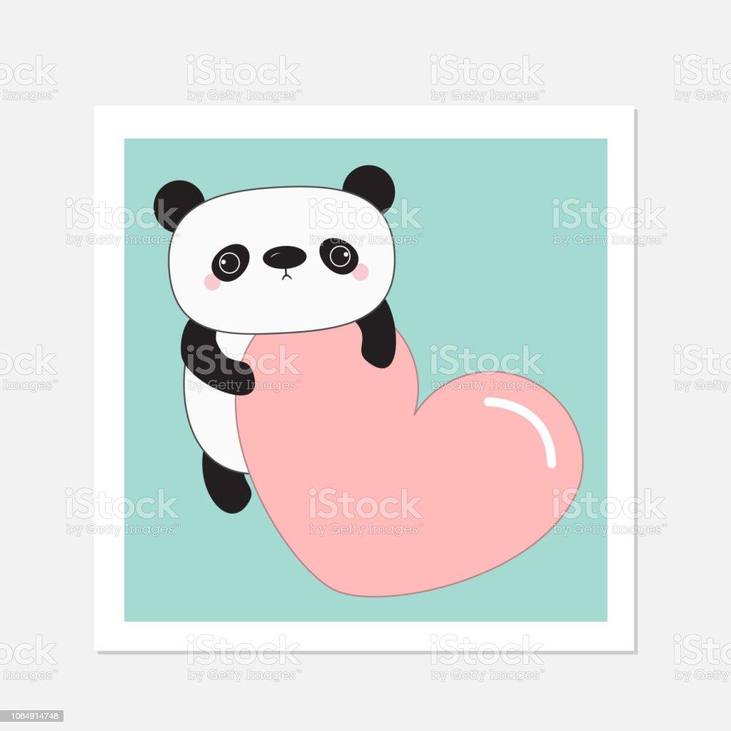 Ours De Bébé Panda Kawaii Cadre Blanc Personnage De Dessin