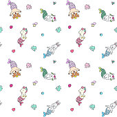 Seamless pattern with cute animal mermaids, shells, corals, pearls, fish and diamonds on white background. Vector 8 EPS.