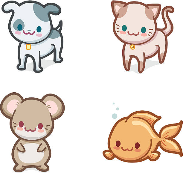 Kawaii Haustiere – Vektorgrafik