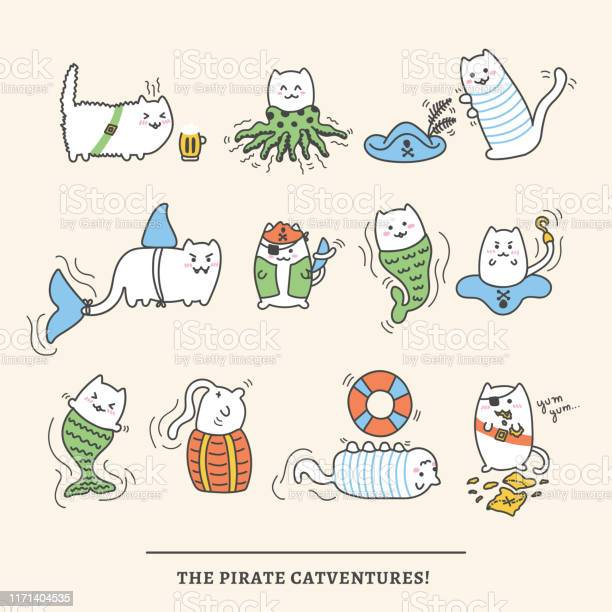 Kawaii pirate cats super cute and fluffy happy cartoon characters in vector id1171404535?b=1&k=6&m=1171404535&s=612x612&h=catz sjsud fcf5dftjmsjhxhubwlokf quse4jszkg=