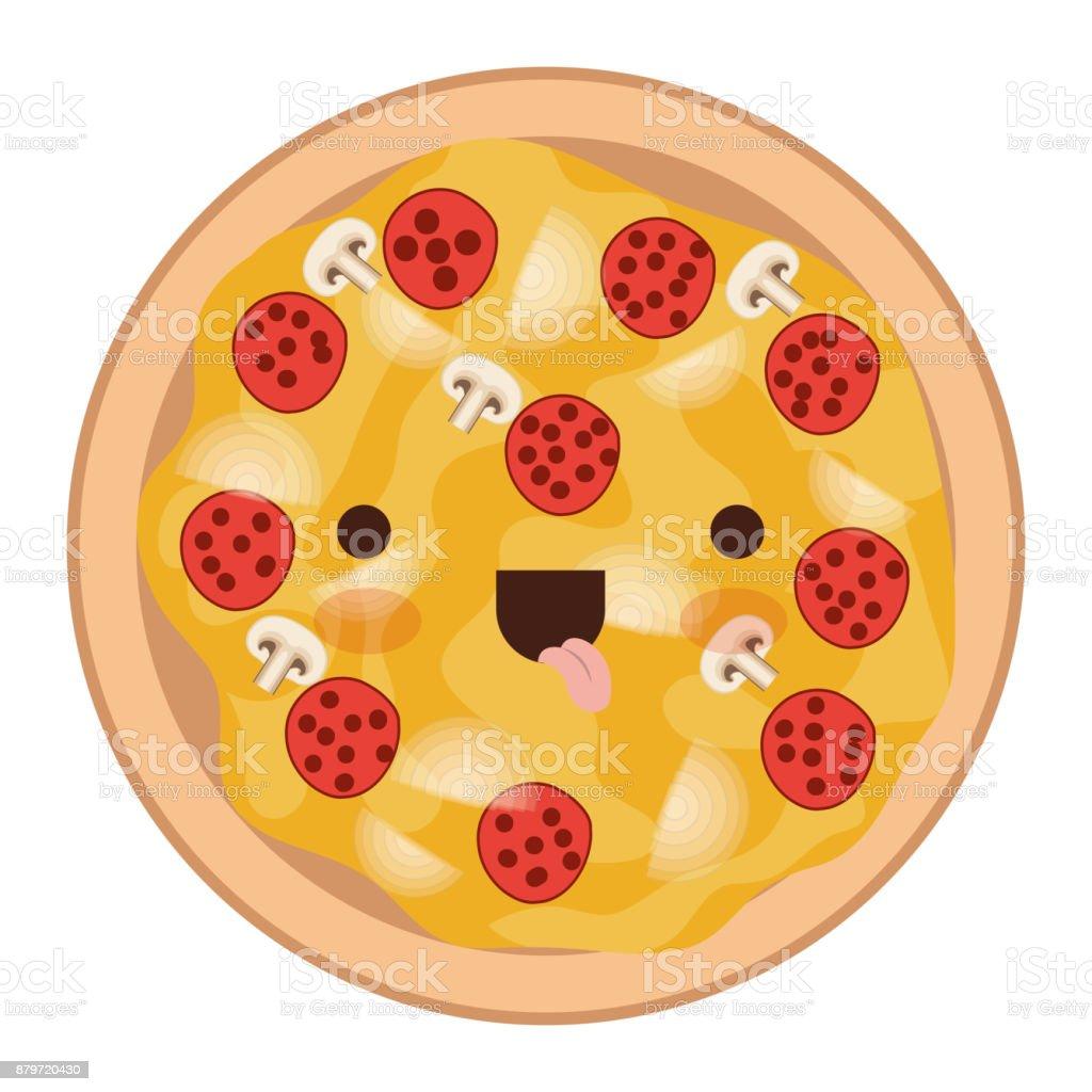 Kawaii Pizza In Bunten Silhouette Auf Weißem Hintergrund