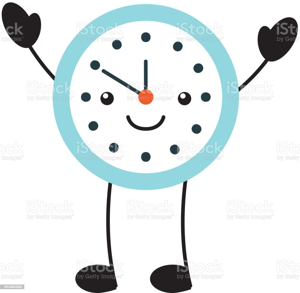 kawaii round clock time minute cartoon vector art illustration