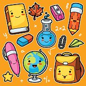 Kawaii school and education cute supplies and objects set