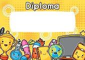 Kawaii school diploma with cute education supplies