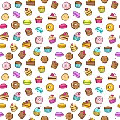 Kawaii seamless backgroundon a white background of sweet and dessert doodle, cake, sweet donat, cookies and macaron