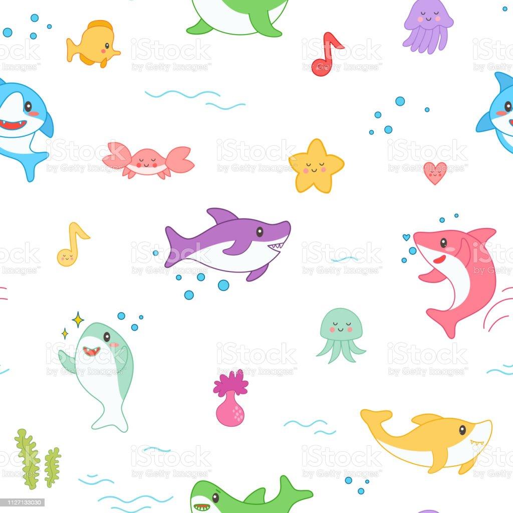 かわいいサメのシームレスなパターンかわいい面白い魚航海の背景に海の