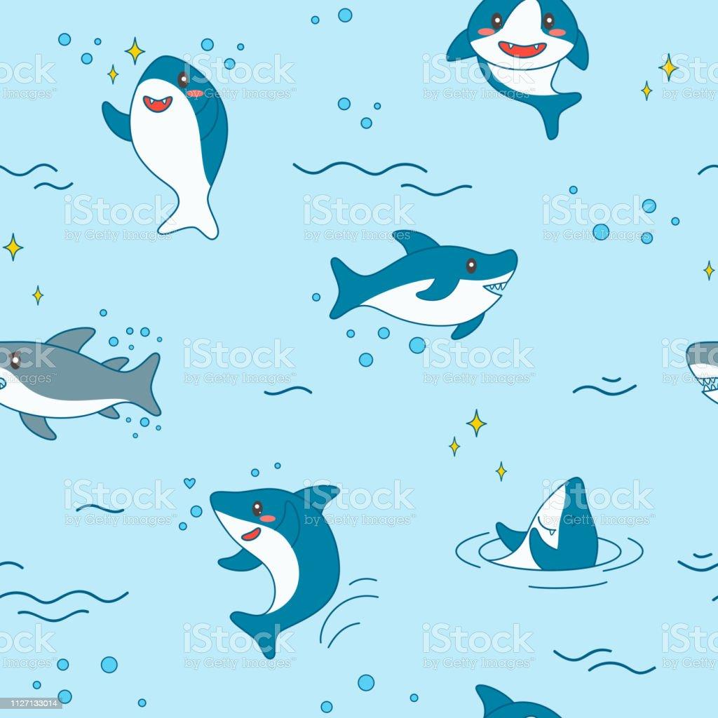 かわいいサメのシームレスなパターンかわいい面白いサメ航海の背景に海