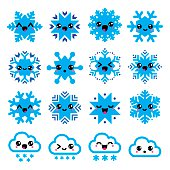 Vector icons set of cute Kawaii characters - snowflakes isolated on white