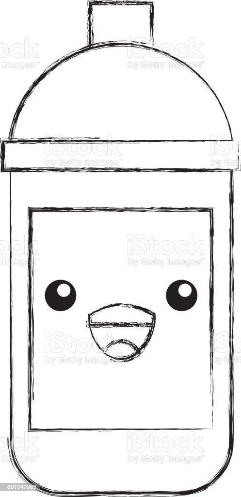 Kawaii Spray Painting Creative Designer Cartoon Stock Vector Art